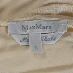 Max Mara Cream Jersey Ruched One Shoulder Top S