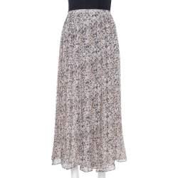 Max Mara Cream Printed Chiffon Pleated Maxi Skirt S