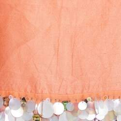 Max Mara Peach Silk Sequin Embellished Sleeveless Top S