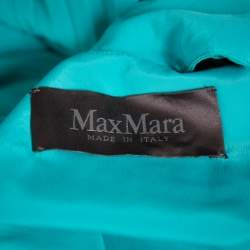 Max Mara Turquoise Green Pleated Georgette Ailello Maxi Dress M