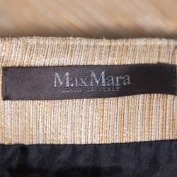 Max Mara Black & Beige Textured Cotton Tondo Maxi Skirt L