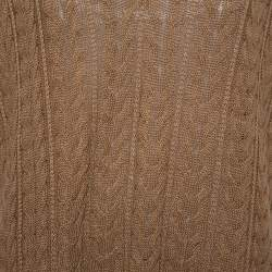 Max Mara Camel Brown Cable Knit Sleeveless Sweater L