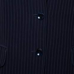 Max Mara Navy Blue Pinstriped Wool Selz Suit M