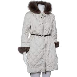 Max Mara The Cube Cream Quilted Fur Lined Hooded Jacket M
