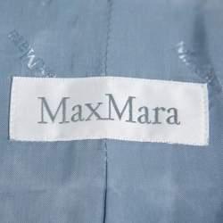 Max Mara Teal Blue Wool Button Front Blazer M