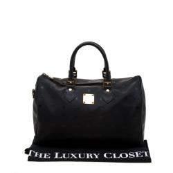 MCM Black Signature Visetos Nylon and Leather Heritage Boston Bag