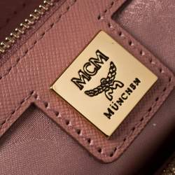 MCM Pink Leather Double Zip Tote