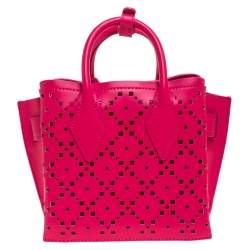 MCM Pink Perforated Leather Mini Milla Tote