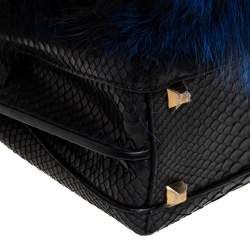 MCM Black/Blue Snakeskin and Fur Mini Milla Tote