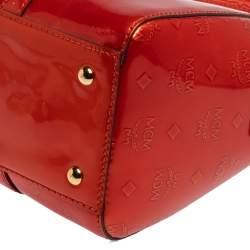 MCM Burnt Orange Patent Leather Ivana Bowler Bag