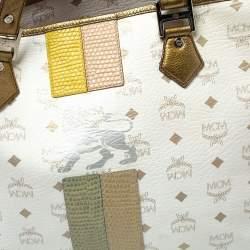 MCM White Visetos Coated Canvas and Leather Medium Princess Lion Shopper Tote