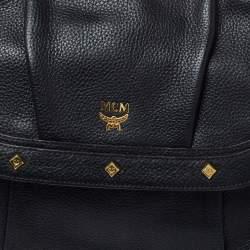 MCM Black Leather Studded Flap Shoulder Bag