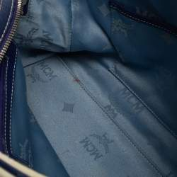 MCM Purple/White Visetos Coated Canvas and Leather Zip Satchel