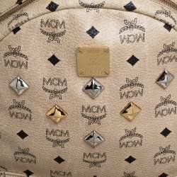 MCM Light Beige Visetos Coated Canvas and Leather Studded Stark Backpack