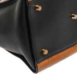 MCM Black/Cognac Visetos Coated Canvas and Leather Small Kathy Tote