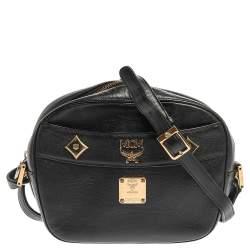 MCM Black Leather Studded Camera Shoulder Bag