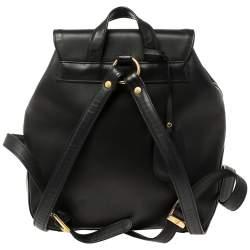 MCM Black Leather Flap Backpack
