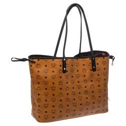 MCM Cognac/Black Visetos Coated Canvas And Leather Large Anya Tote