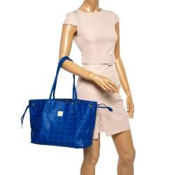 MCM Blue Visetos Leather Project Reversible Shopper Tote