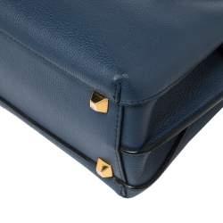 MCM Navy Blue Leather Mini Milla Park Avenue Tote