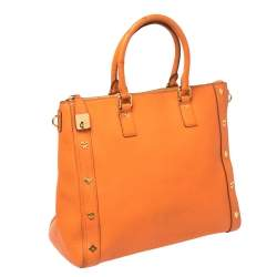 MCM Orange Textured Leather Large Tote