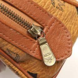 MCM Brown/Beige Leather Mini Visetos Leather Boston Bag