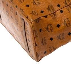 MCM Cognac Visetos Coated Canvas Project Reversible Shopper Tote