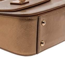 MCM Metallic Gold Leather Flap Top Handle Bag