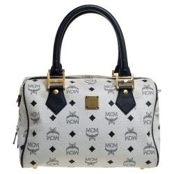 MCM White Visetos Leather Small Heritage Boston Bag