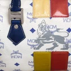 MCM White/Blue Visetos Princess Lion Coated Canvas and Leather Boston Bag