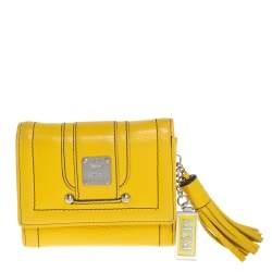 MCM Yellow Leather Tassel Compact Wallet