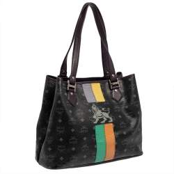 MCM Black Visetos Coated Canvas and Leather Medium Princess Lion Shopper Tote