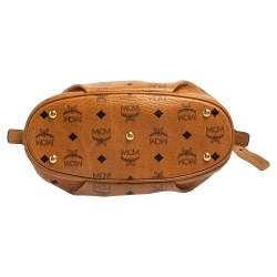 MCM Cognac Visetos Coated Canvas and Leather Shoulder Bag