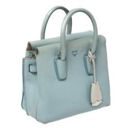 MCM Blue Leather Mini Milla Tote