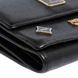 MCM Black Leather Studded Three Fold Wallet