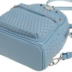 حقيبة ظهر إم سي إم ستاركبيبي بو صغيرة جلد مرصع أزرق سماوي