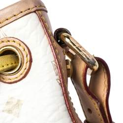 حقيبة إم سي إم هيريتاج باكيت كانفاس فيستوس مقوى أبيض/بني فاتح برباط