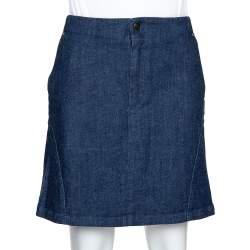 McQ by Alexander McQueen Indigo Denim Zip Detail A Line Mini Skirt S
