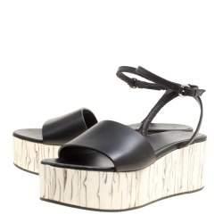 McQ by Alexander McQueen Black Leather Wooden Platform Ankle Wrap Sandals Size 38