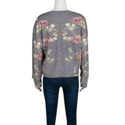 McQ by Alexander McQueen Rose and Houndstooth Print Long Sleeve Sweatshirt M