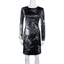 McQ by Alexander McQueen Monochrome Printed Silk Satin Long Sleeve Dress M