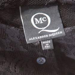 McQ By Alexander McQueen Black Floral Lace Long Sleeve Blouse L