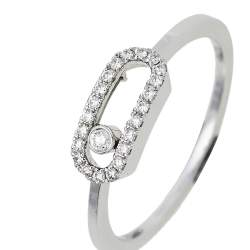 Messika Move Uno Pave Diamond 18K White Gold Ring Size 50.5
