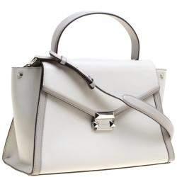 Michael Kors Grey Leather Large Whitney Top Handle Satchel