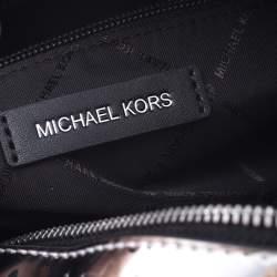 Michael Kors Metallic Silver Mirror Leather Kara Boston Bag