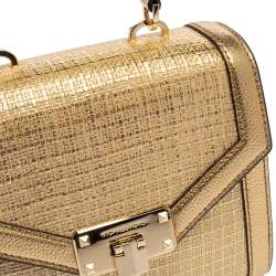 Michael Kors Gold Woven Straw and Leather XS Kinsley Top Handle Bag
