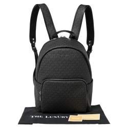 Michael Kors Black Signature Coated Canvas Large Erin Backpack