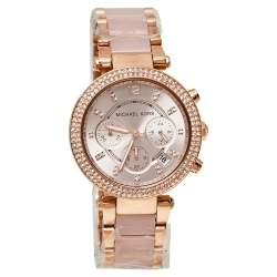 ساعة يد نسائية مايكل كورس باركر MK5896 ستانلس ستيل مطلي ذهبي وردي 39مم