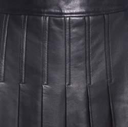 Michael Kors Dark Brown Leather Pleated Midi Skirt M