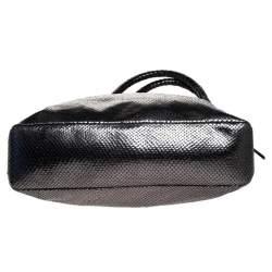 Michael Kors Metallic Grey Snakeskin Embossed Leather Skorpios Tote